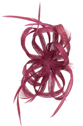 Cranberry Pink Looped Sinamay Clip Fascinator Pink